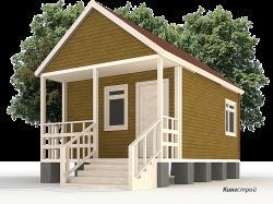 Садовый дом К-05 - Садовый домик с крыльцом и верандой от СК Кингстрой