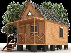 Садовый дом К-04 - Садовый деревянный дом на столбчатом фундаменте