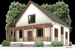 Деревянный дом К-43 - Проект каркасного загородного дома 11х8